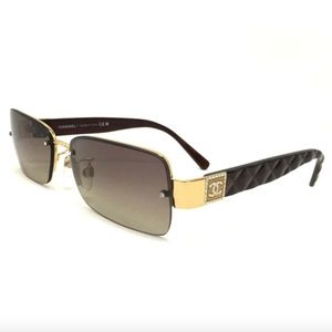 CHANEL CC Logo Rhinestone 4093-B Black Sunglasses